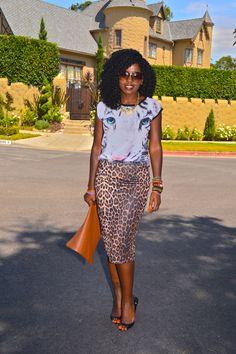 Style Pantry | Tiger Print T-shirt + Leopard Print Pencil Skirt