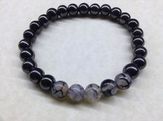 MENS HEMATITE and BLACK DRAGON VEIN AGATE 8mm Round Gemstone Bead BRACELET