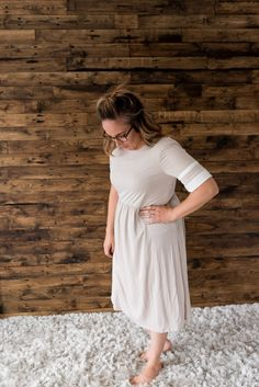 Melody Mauve, Nursing, Fashion Dresses, White Dress, Cool Stuff, Tees, Fabric, Model, Collection