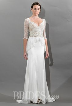 "Brides: Victoria Kyriakides - Fall 2015. ""Grace"" Queen Anne neck A-line lace and satin wedding dress with 3/4 sleeves, Victoria Kyriakides"