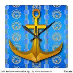 #GoldAnchor #CeruleanBlue #SquareWallClock by #MoonDreamsMusic