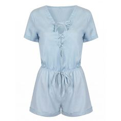 Choies Light Blue Lace Up Front Drawstring Waist Romper Playsuit ($17) ❤ liked on Polyvore featuring jumpsuits, rompers, playsuit, romper, dresses, shorts, blue, light blue romper, light blue jumpsuit and blue rompers