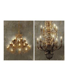 Another great find on #zulily! Chandelier Light-Up Canvas Wall Art - Set of Two by A&B Home #zulilyfinds