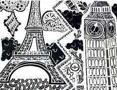 Adult Coloring Page London Big Ben And Eiffel Tower Paris 7