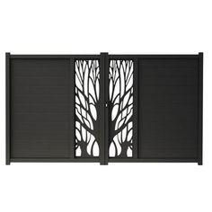 Portail aluminium Blooma Idaho noir 9017 - 350 x cm Steel Gate Design, Front Gate Design, Main Gate Design, Door Gate Design, House Gate Design, Garage Door Design, Gate Designs Modern, Best Modern House Design, Aluminium Gates