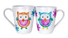 Owl Mug Set- Show off your crafting wisdom in a pair of owl-embellished mugs made with Americana 3D Gloss Enamel Writers.