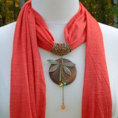 Jewelry Scarves - Beautiful Burnt Orange Scarf with Wood Dragonfly