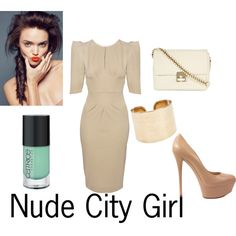 Nude City Girl, created by glam-net on Polyvore What I will be wearing to the office...