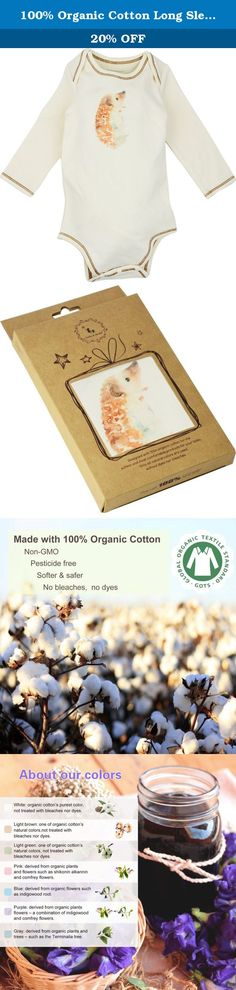 100% Organic Cotton Long Sleeve Unisex Baby Onesie w/ Plant Dye Imprints, Hedgehog, 3M. Product Description: 100% Cotton. GOTS Certified Organic Cotton. Pesticide-free, bleach-free & chemical-free. No chemicals used during dye. Cotton gets softer after 3 washes. Machine wash warm, tumble dry low. Stretchable wide round neckline with side slits to dress and undress easily. Nickel-free snap closure buttons provides extra protection to baby's skin. Tag-less to help prevent irritations. Mild...