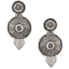 DANNIJO Ahava Circle Earrings ($116) ❤ liked on Polyvore featuring jewelry, earrings, oxidized jewelry, dannijo, fringe jewelry, chain earrings and circular earrings
