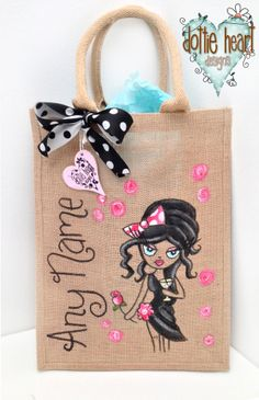 Amy Personalised, handpainted bag...Personalise Your Own Bag Design!  Choose a Character....  Choose a Hair Style and Colour....  Choose the Eye colour....  Choose an Outfit and the colour....  Choose the Accessories....  Bling It up a bit with beautiful crystal gems...  And finally - Add a Name to make it yours, all yours!