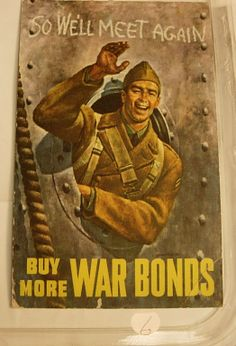 vintage military postcard War Bonds Issued by by NeatstuffAntiques, $25.00