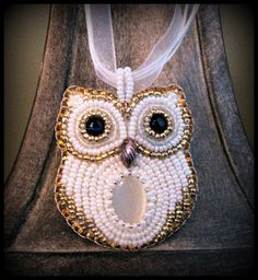 White and Gold Beaded Snow Owl Embroidered by JamieEstelleJewelry