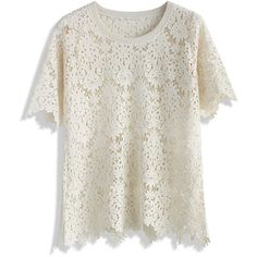 Chicwish Baroque Lace Cutout Top in Beige ($47) ❤ liked on Polyvore