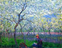 An Orchard in Spring Claude Monet art for sale at Toperfect gallery. Buy the An Orchard in Spring Claude Monet oil painting in Factory Price. Monet Paintings, Impressionist Paintings, Landscape Paintings, Claude Monet, Pierre Auguste Renoir, Artist Monet, Spring Painting, Oil Painting Reproductions, Oeuvre D'art