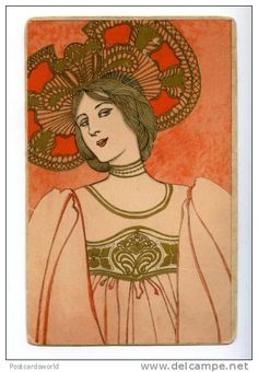 Woman in an orange dress and hat. Postcard design attributed to Mela Koehler (Austrian, Publisher Marcus Munk Images and text courtesy MFA Boston. Vintage Greeting Cards, Vintage Postcards, Vintage Images, Art Nouveau Mucha, Winter Drawings, Fashion Illustration Vintage, Fashion Illustrations, Masks Art, Postcard Design