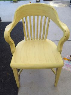Yellow distressed accent chair .. Refinished furniture by kaytlyn captain