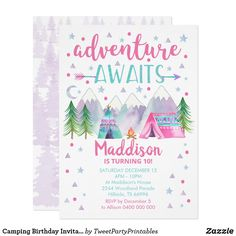 Camping Birthday Invitation Adventure Awaits Girl Camping Parties, Camping Gifts, Camping Tools, Camping Equipment, Tent Camping, Glamping, Pink Invitations, Custom Invitations, Camping Birthday Invitations