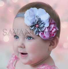 Diademas de bebé mal rosado blanco gris diademas por SAVANIboutique