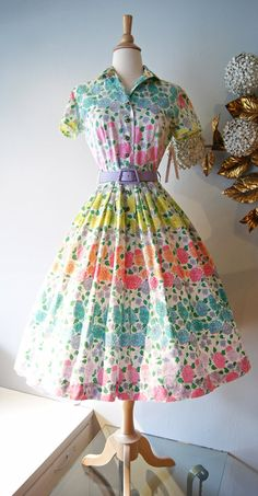 50s Dress // Vintage 1950's Garden Party Rose by xtabayvintage, $198.00