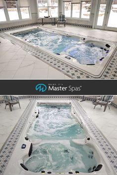 Indoor Swim Spa Installations to Make Your Jaw Drop - Master Spas Blog Small Indoor Pool, Indoor Swimming Pools, Backyard Pools, Lap Pools, Small Pools, Pool Decks, Pool Landscaping, Indoor Outdoor Pools, Swimming Spa