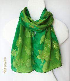 Hand painted silk scarf  Green handpainted silk by SilkScarvesEtc