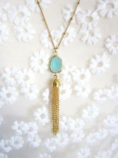 The Everly Tassel Necklace https://www.etsy.com/listing/195298326/tassel-necklace-with-mint-jewel-everly