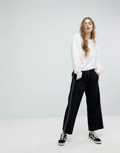ASOS Cropped Wide Leg Joggers with Spot Side Tape - Black