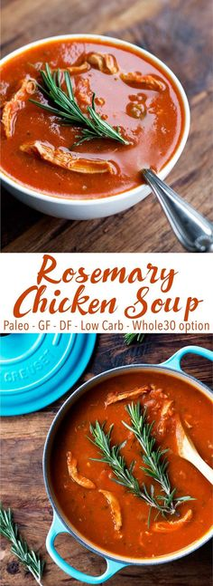 Packed with veggies and perfect for fall and winter! This rosemary chicken soup is healthy, flavorful, and comforting. It's also paleo, gluten free, dairy free, low carb, and Whole30.