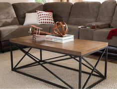 Baxton Studio Holden Vintage Industrial Metal and Wooden Bronze Coffee Table, Brown Coffee And End Tables, Sofa End Tables, Coffee Table Walmart, Vintage Industrial Furniture, Industrial Design, Industrial Metal, Baxton Studio, Mdf Wood, Brown Wood