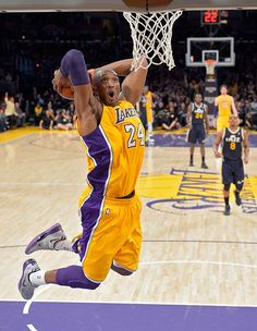 Lakers guard Kobe Bryant goes up for a dunk during a game against Utah last Friday #nba #lakers #kobebryant