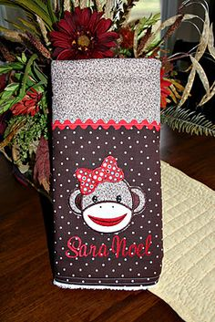 """Adorable sock monkey baby changing pad...love this for """"B"""" man"""
