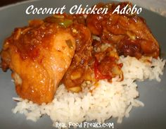 coconut chicken adobo. classic recipe w/ a twist. the coconut milk + hour of reducing liquids should ensure that it is tender and tasty :)