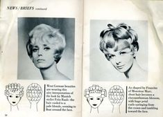 I stumbled across a very old posting of hairdos and setting patterns on Livejournal: Vintage Hair - Hairstyles for vintage enthus. Roller Set Hairstyles, 1960 Hairstyles, Curled Hairstyles, Vintage Hairstyles, Vintage Waves Hair, Hair Chart, Retro Updo, Hair Setting, Retro Waves