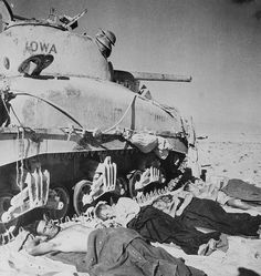 State of Exhaustion. Western Desert, Egypt: The New Zealand crew of this American-made tank, operating with the British Eighth Army in the Western Desert, takes a much-needed rest after 60 hours of continuous battle. December 8, 1942. Pin by Paolo Marzioli