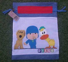 Bolsa de desayuno de Pocoyo, pintada a mano y confeccionada con telas reutilizadas. www.cosasdecasaazul.blogspot.com