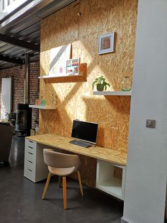 Osb Board, Plywood Desk, Plywood Interior, Garage Office, Ikea Desk, Home Office Organization, Home Office Space, Furniture Inspiration, New Room