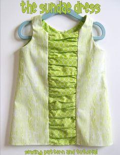 Instant Download Ruffle Dress, PDF Sewing Pattern and Tutorial (sizes 6-12m, 12-18m, 24m/2t, 3t, girls 4, 5, 6, 6x/7) SUNDAE Dress