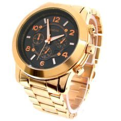 Rose Gold Black 3D Dial Geneva Large Bracelet Oversized Women's Boyfriend Watch