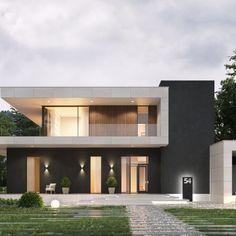 Portfolio: Residence in Canada Modern Exterior House Designs, Modern Villa Design, Dream House Exterior, Architectural Design House Plans, Modern House Plans, Bungalow House Design, House Front Design, Minimal House Design, Small Villa