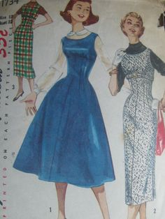 Vtg Simplicity Sewing Pattern 50s Full Party Jumper Dress Shelf Bust Sz 12 1734