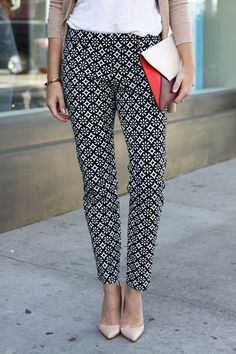 25 Black And White Printed Pants Ideas Work Outfit Clothes Printed Pants
