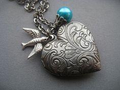 Valentine Jewelry  Silver Heart Locket  by SilverTrumpetJewelry
