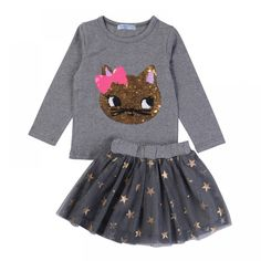 Humor Bear NEW Autumn Baby Girl Clothes Girls Clothing Sets Cartoon Sequins Cat Long Sleeve+Stars Skirt Casual Girls Suits - Kid Shop Global - Kids & Baby Shop Online - baby & kids clothing, toys for baby & kid Girls Christmas Outfits, Kids Outfits Girls, Girl Outfits, Kids Girls, Toddler Girls, Baby Boys, Kids Clothing Brands, Clothing Sets, Children Clothing