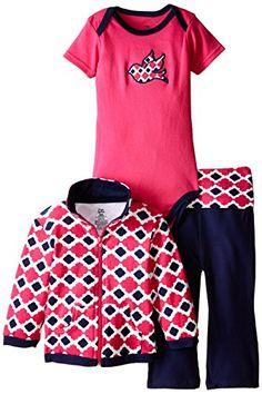 Yoga Sprout Baby-Girls 3 Piece Bird Track Jacket Bodysuit Pant Set, Girl Bird, 3-6 Months