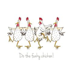 """Do the Funky Chicken!"" by Sarah Boddy (DoodleDoo Personalised Charity Cards)"