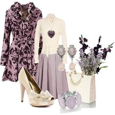 Lavender & Lilacs by stylesbyjoey on Polyvore featuring The Row, Joe Browns, Warehouse, Paris Hilton, Candie's, Martick, belted cardigans, floral coats, bow heels and pleated skirt