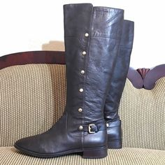 "Michael Kors Carney Riding Boots Gorgeous dark brown boots with gold hardware. Strap around the back of heel, full zippers from the foot bed to top of shaft. Worn once. Runs maybe 1/2 size small. 1 1/2"" heel. Price is firm- no bundle discount. Michael Kors Shoes Heeled Boots"