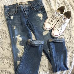 Destroyed Skinny Jeans Such a cute distressed look. Adorable rolled up at bottoms and with white converse! Hollister Jeans Skinny
