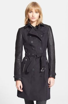 Burberry Brit 'Tinsbury' Leather Trim Double Breasted Trench Coat available at #Nordstrom